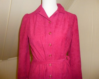 Vintage Marty Gutmacher Dress Pink 1970s button up tied waist M L