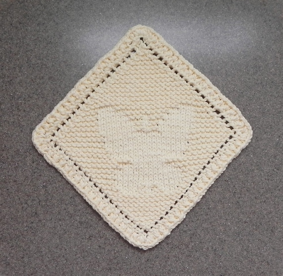 Knit Dishcloth BUTTERFLY Knit Wash Cloth Handmade Light