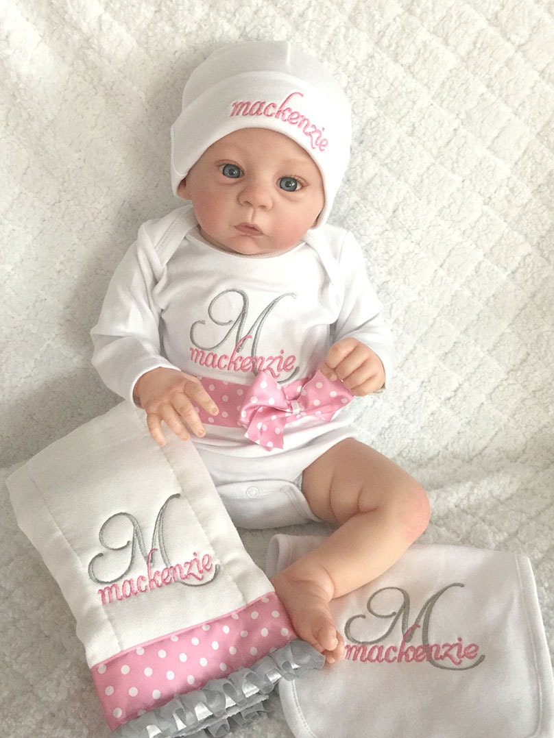 Personalized Baby Gift Sets : Personalized newborn baby gift set onesie hatburp cloth