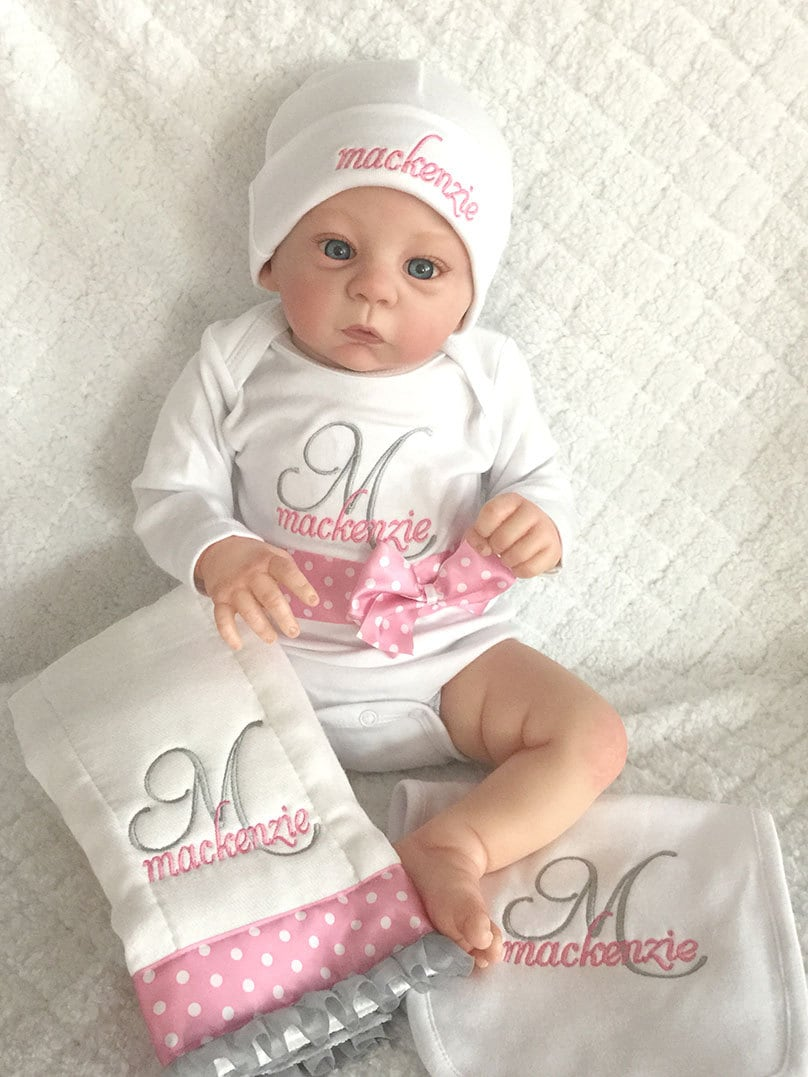 Personalised Baby Gift Sets : Personalized newborn baby gift set onesie hatburp cloth
