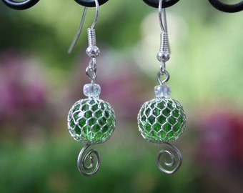 wire wrapped green swirl earrings
