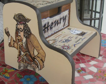 Children's Hand Painted Wood Pirate Step Stool, Personalized Pirate Step Stool, Boy's Step Stools, Kid's Treasure Map Stool