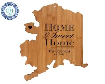 Alaska Personalized Cutting Board   Home Sweet Home   Custom Housewarming or Unique Wedding Gift