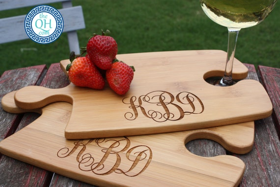 Perfect Fit Pair of Personalized Monogrammed Puzzle Pieces Cheese Cutting Board Serving Tray Monogram Engraved Wedding Hostess 2 Piece Gift