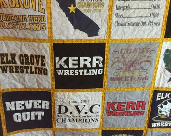 T-shirt Quilt Custom Made - Memory Quilt Made 9 - 49 t-shirts