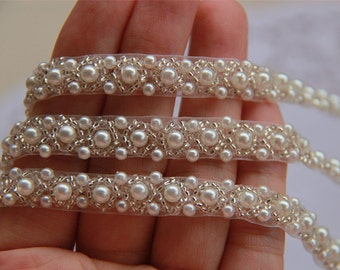 off-White Pearl Beaded Lace Trim Wedding Dress Belt Brial Sash Jewelry Design  1 yard