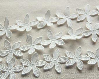 "3 Yards Lace Trim White Cotton Flower Wedding Fabric 1.57"" width"