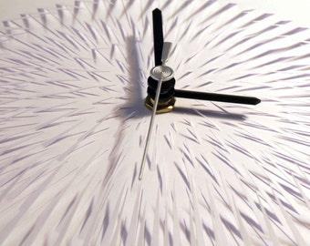 Diamond Eclipse. White on white hand cut paper clock