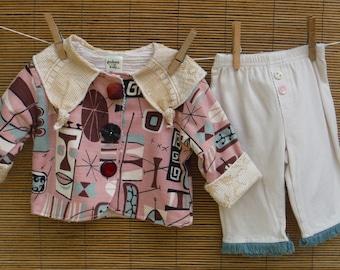 Size 6 Months Tiki Baby Coat & Pants Set - Retro Barkcloth 6 Months Baby Outfit - 6 Months Tiki 2 Piece Girls Outfit - Baby Tiki Jacket