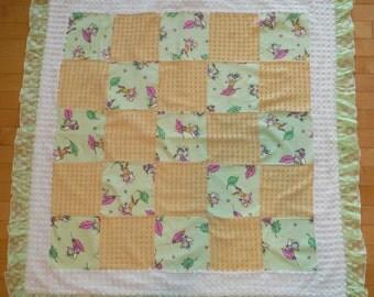 Fairies Vintage Patchwork Blanket, Baby Girl Patchwork Quilt, Fairies Vintage Chenille Bedding, Fairies Chenille Blanket
