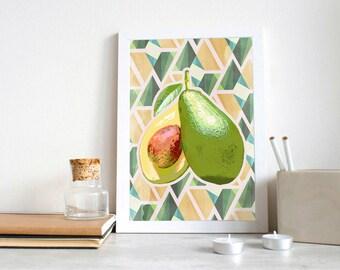 Avocado Abstract Art Print | Poster Art Color Pop | Abstract Avocado | Geometric Shapes