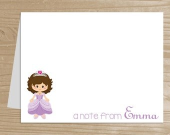 Personalized Kids' Note Cards - Set of 10 Princess Notecards for Girls - Folded Note Cards with Envelopes - Custom Purple Princess Notecards
