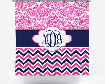 Monogrammed Shower Curtain - Pink and Navy Damask Personalized Shower Curtain - Custom Shower Curtain with Monogram - Chevron Bath Decor