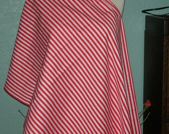 Red and White Striped Cotton Fabric One piece 3 yards & 13 inches