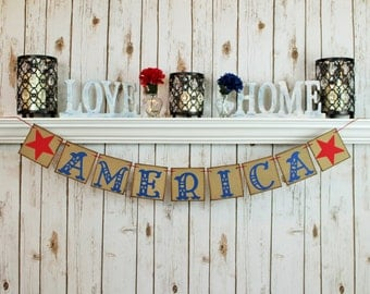 AMERICA BANNER / MEMORIAL Day / 4th of July Banner / Summer / Patriotic / Military / Decoration / Banners / Summertime / Fourth of July /