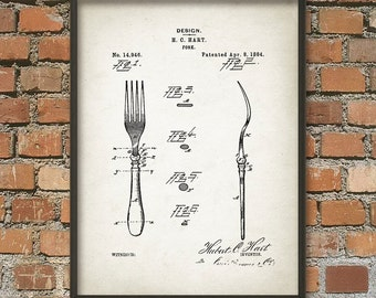 Table Fork Patent Wall Art Poster