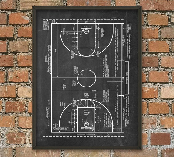 Poster Weights Etsy: Basketball Court Schematic Diagram Wall Art By QuantumPrints