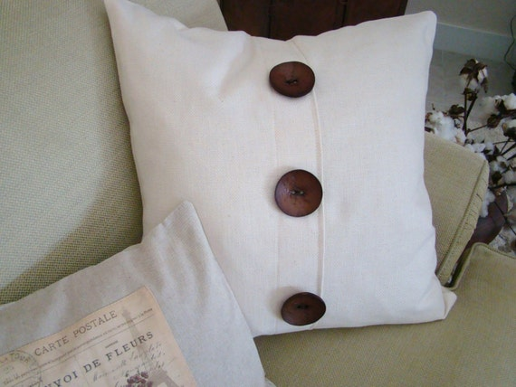 Throw Pillows With Big Buttons : Decorator Pillow in a Woven Off-White Fabric 22 Square