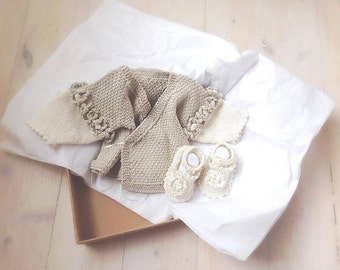Baby Knitting Pattern. Baby Obi Wrap Wrapover/crossover Cardigan/Jacket and Shoes/Booties premature Baby sizes