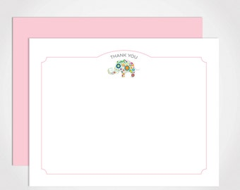 Personalized Thank You Stationery Set / Children's Notecard Set with Elephant Pattern for Baby Shower, New Baby or Child