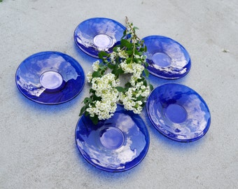 SET of 5 Cobalt blue glass  saucers, Blue Dish, Blue Round Dish,  cobalt blue bowl, Blue Wedding Decor