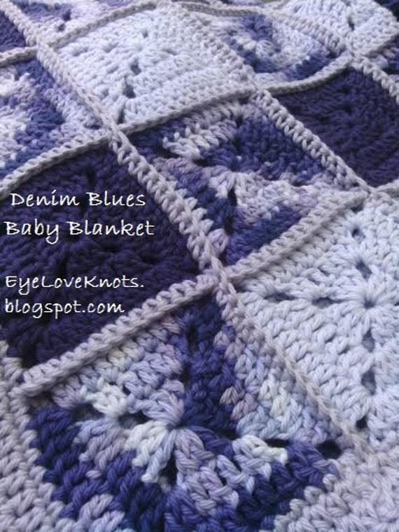 Crochet Pattern Blue Denims Solid Granny Square Baby Blanket