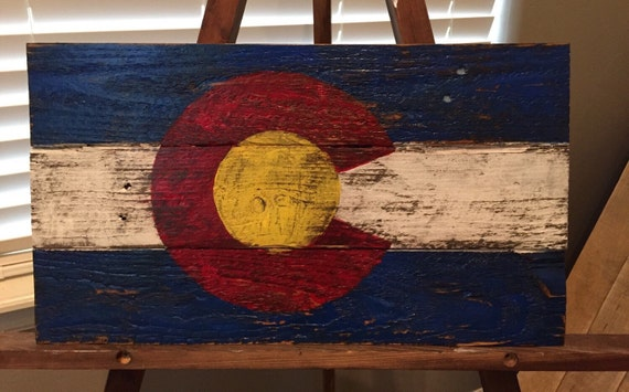 Reclaimed Wood Colorado Flag Sign 17 3/4