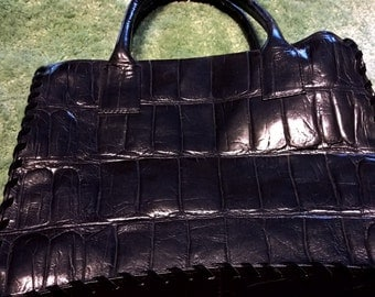 Vintage Black Saks Fifth Avenue Black Leather Handbag