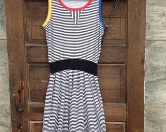 Adorable Vintage 80's Black and White Striped with Color Block Trim Summer Tank Dress