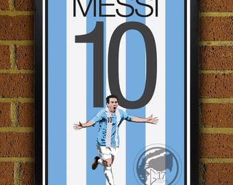 Lionel Messi 10 Poster - Argentina - Argentina  Soccer Poster- 8x10, 13x19, poster, art, wall decor, home decor, world cup