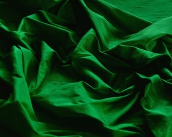 "Emerald Green Dupioni Silk, 100% Silk Fabric, 44"" Wide or 54"" Wide, By The Yard (S-110)"