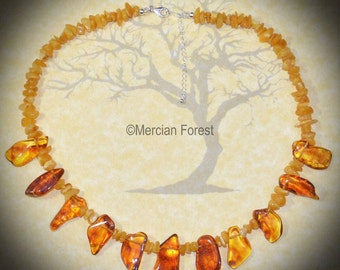 Belenos' Light Baltic Amber Beaded Necklace - Pagan Jewellery, Sun God, Sterling Silver, Celtic