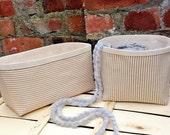 Knitting Bag Crochet Project Bag 2xLarge BEIGE Striped Natural LINEN STORAGE Basket Reversible Bucket Organizer Holder Container Fabric Gift