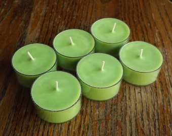 Fresh Cut Basil Soy Tea Light Candles - Set of 6 Scented Soy Tealights - Basil Scented Candles