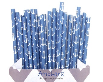 Anchor Straws, Paper Straws, Navy Blue, Navy Straws, Sea, Beach Party, Nautical Cake Pops, Birthday, Wedding -Nautical theme party *Summer