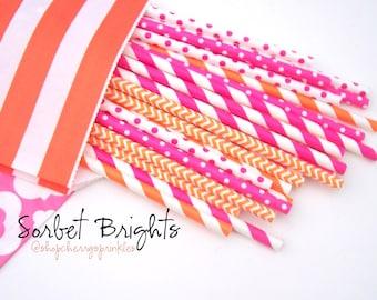 SORBET BRIGHTS -Hot Pink Straws -Orange Straws *Paper Straws *Straws *Party Decor -Birthday, Wedding, Girl Party -PINK -Orange -Party Supply