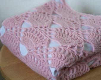 Pink Baby Blanket Crochet Baby Blanket Handmade Baby Blanket Girls crochet blanket