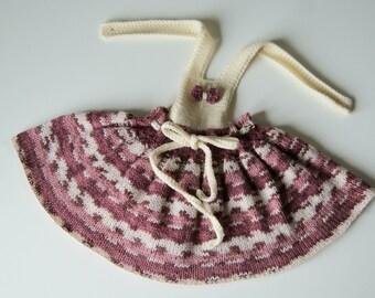 Newborn baby girl dress, newborn dress, hand knit baby dress, pink baby dress, take home gown, baby easter dress