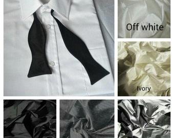 White, greys and black dupioni silk bowtie freestyle self tie bow tie