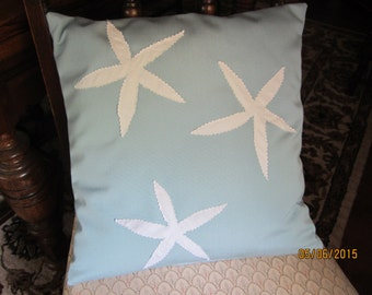 REDUCED!!  Starfish appliqued throw pillow 16x16 OOAK in blue or tan
