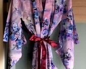 Japanese Robe, Personalized Robe, Plus Size Womens Robe, Short Bathrobe, Bridesmaid gift robe