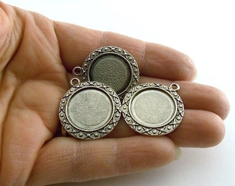 Beads Silver Plated Frames With a 18mm Opening