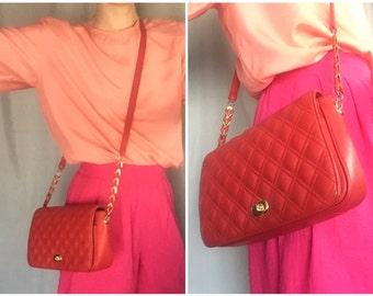 Red Leather Purse Quilted Shoulder Bag Handbag Gold Chain Strap Cross Body Vintage