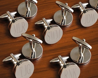 Personalized Groomsmen Cufflinks - Personalized Set of 5 Cufflinks - Monogrammed Round Cufflinks - Groomsmen Gifts - GC797X5