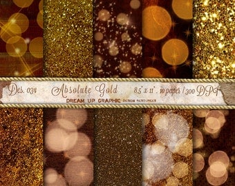 GOLD Digital Paper: Gold Glitter Paper, GOLD Bokeh Digital Paper, Gold Sparkle Paper, Gold Glitter Background, Des. n. 034 Absolute Gold