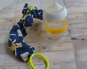 Navy Blue Sock Monkey Print Sippy, Bottle, or Toy Leash; Bottle Bungie, Boys Sippy Strap,