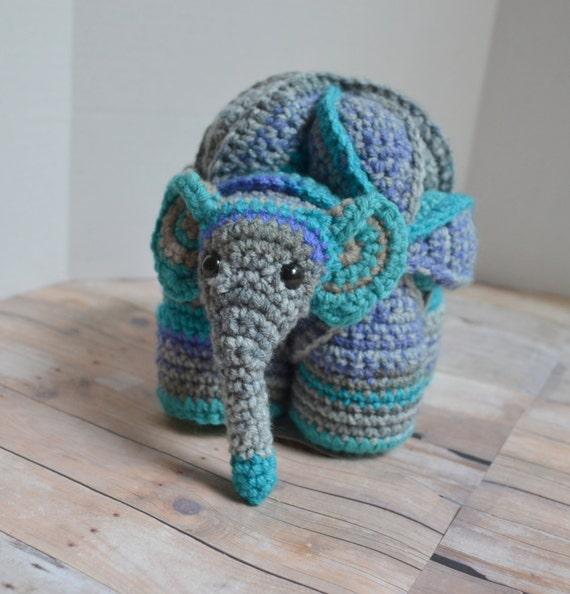 Amigurumi Puzzle Animals : Gray and Aqua Elephant Amamani Amish Puzzle Ball Animal
