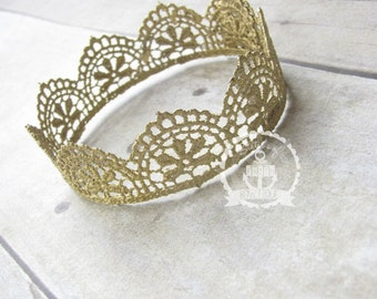 Newborn toddler lace crown photography prop gold silver white crochet lace