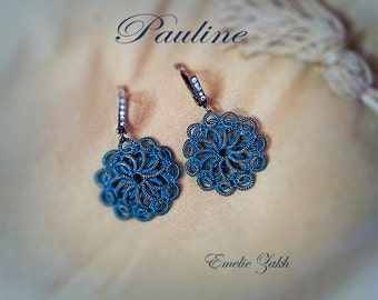 Small and very elegant earrings!Made in tatting technique.Piece is unique.Free shipping