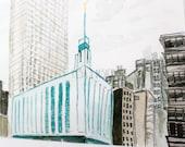 Manhattan, New York LDS Temple - Watercolor Temple 8x10 print by Elsa Ferre